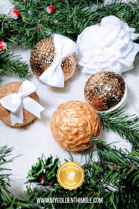 Fake Expensive Golden Ornaments with all Dollar Store materials. You can make this golden sequin